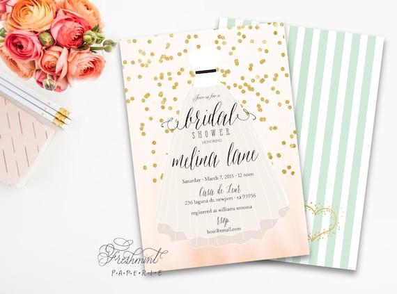 Printable invitations - bridal shower invitation - confetti invitation - calligraphy - bride dress invitation - freshmint paperie
