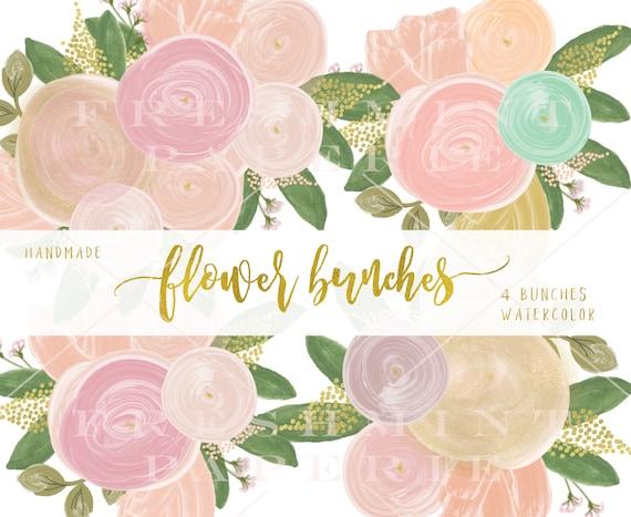 watercolor floral clipart - bouquet clipart - clipart - watercolor clipart - watercolor flowers clipart - freshmint paperie
