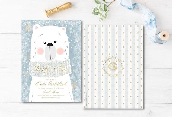 Winter onederland invitation | winter wonderland invitation | Bear invitation | first Birthday | Winter Onederland Birthday invitation
