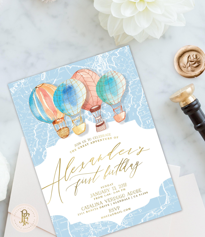 hot air balloon Invitation - adventure Invitations - Birthday Party ...