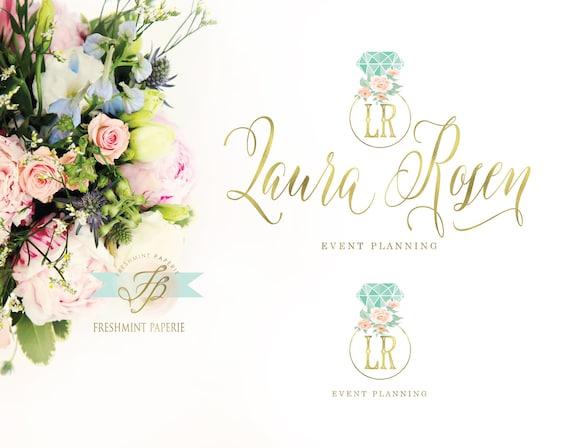 wedding ring logo - logo design - calligraphy logo - diamond logo - floral logo - gold logo - ring logo - events logo - monogram logo