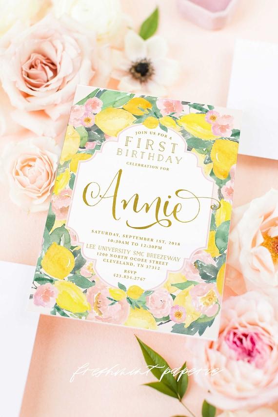 Lemon Floral Invitation - First birthday invitation - birthday invitation - watercolor Lemon invitation - Lemon Birthday Invite - 1101