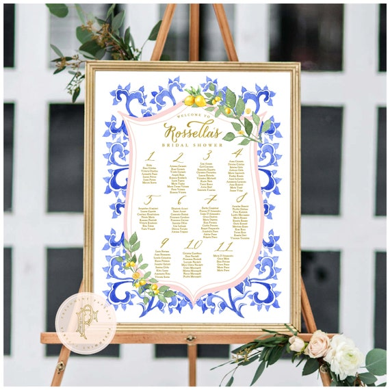 Lemon Citrus Seating Chart  | Calligraphy Seating Chart | Lemon seating chart | Wedding Seating Chart | Wedding Stationery