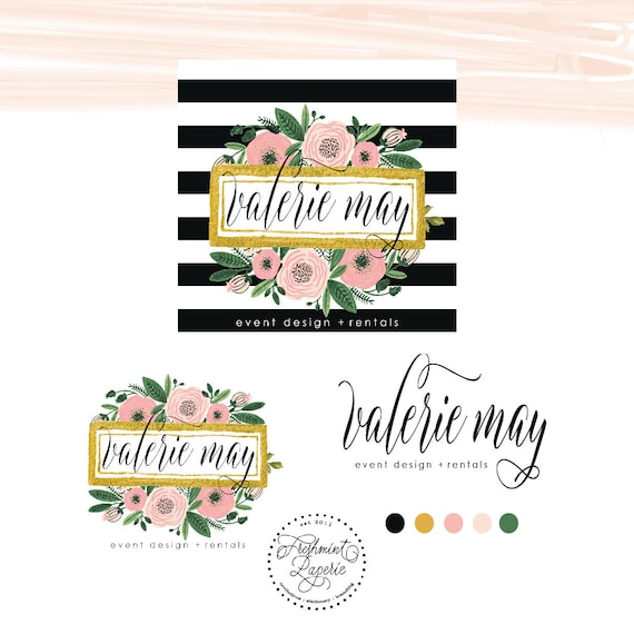Pretty logo - logo design - calligraphy logo - black & white stripes logo - watercolor flower logo - gold logo - freshmint paperie