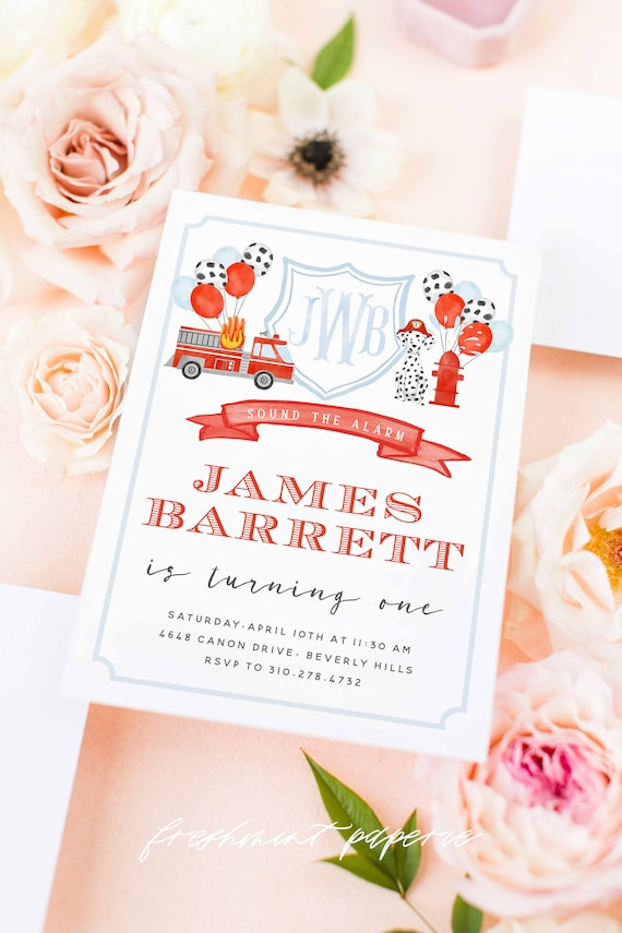 Fire Truck Invitations - Dalmation invitation - Fire Truck Birthday Invitation - Fire Truck Party - Firefighter Invitation - First Bday