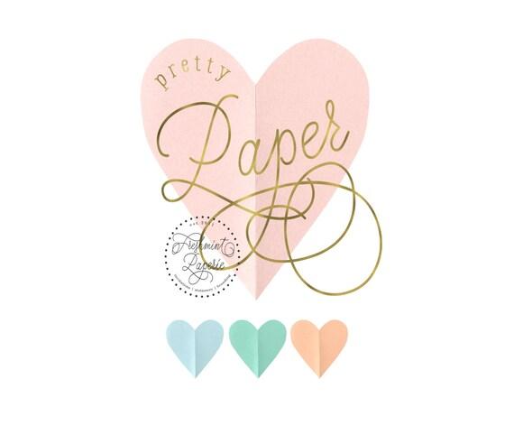 Pretty logo - Pretty logo design - calligraphy logo - heart logo - paper logo - gold logo - modern calligraphy logo - freshmint paperie