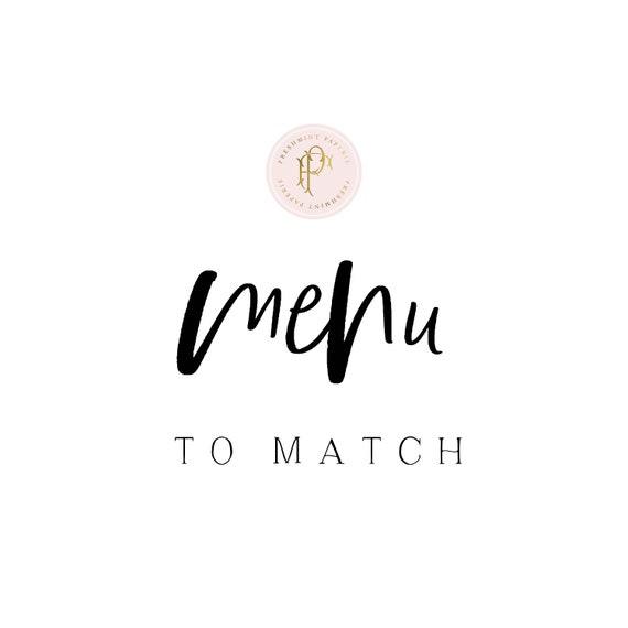 Menu cards  to match any invitation design in our shop - calligraphy Menu  - pretty menu - Freshmint Paperie