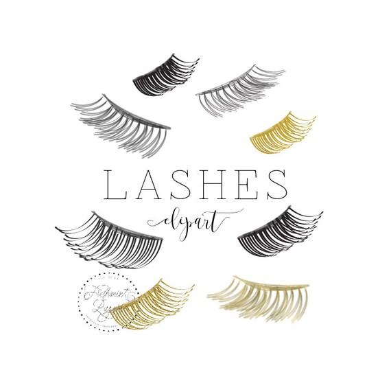 watercolor lashes clipart - lash clipart - eyelash clipart - makeup clipart - glitter eyelash - freshmint paperie