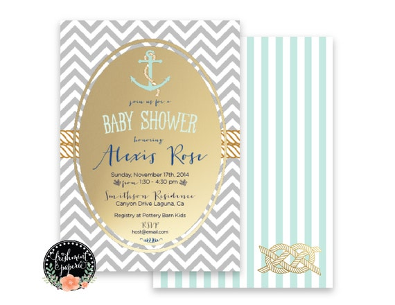 Printable invitations - nautical invitation - anchor invitation - baby shower invitation - Freshmint Paperie