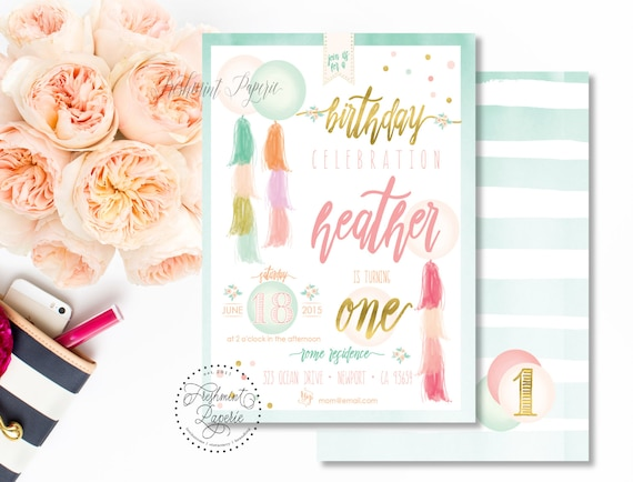 Printable invitations - balloon invitation - tassels and garlands theme - calligraphy - watercolor invitation - freshmint paperie
