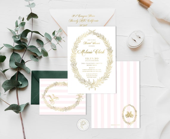 Laduree invitation - Bridal Shower Invitation - Pink stripes invitation - Laduree Bridal Shower invitation - Gold Invitation