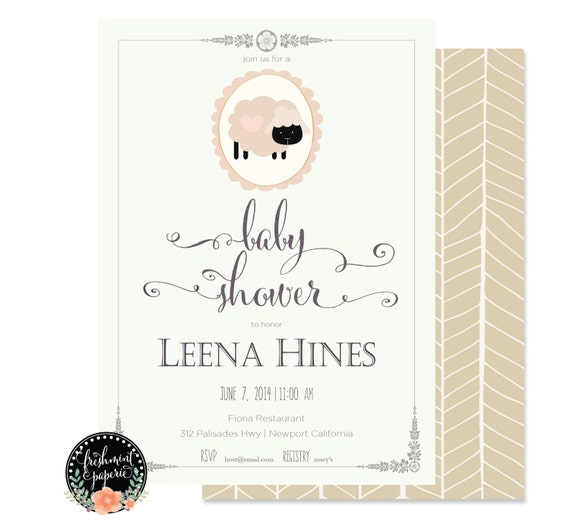 Little lamb invitation - baby shower invitation - lamb invitation - baby sheep invitation - neutral baby shower invitation