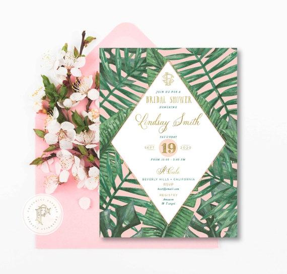 Tropical invitation - banana leaf invitation - Bridal shower invitation - Palm tree invitation - Beverly Hills Hotel - freshmint paperie