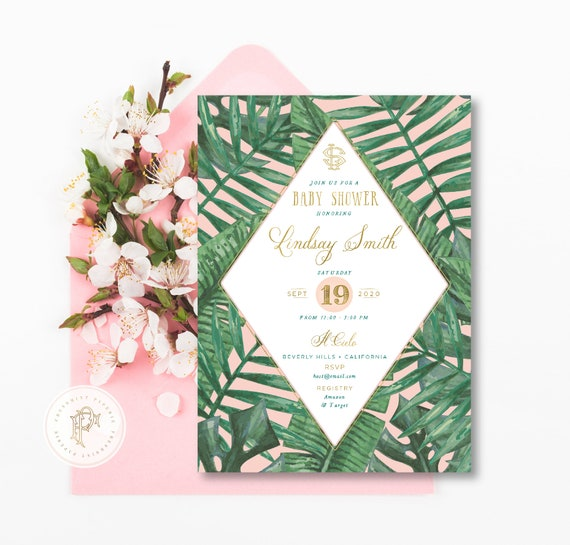 Tropical invitation - Banana leaf invitation - BABY shower invitation - palm tree invitation - baby shower - freshmint paperie