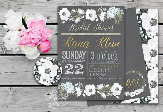Printable invitations - bridal shower invitation - Chalkboard floral invitation - calligraphy - white flowers invitation - freshmint paperie