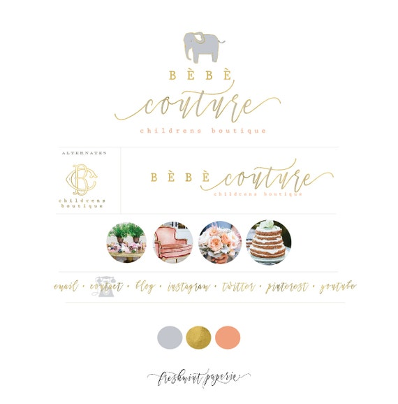 Custom pre-made logo - watercolor logo design - elephant logo - calligraphy style logo - freshmint paperie