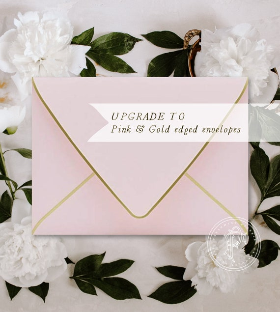 Pink with Gold edged envelopes - Professional printing service - Pink / gold ENVELOPES - freshmint paperie