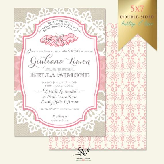 Tutu invitation - baby shower invitation - tutu baby shower invitation - ballerina invitation - Freshmint Paperie
