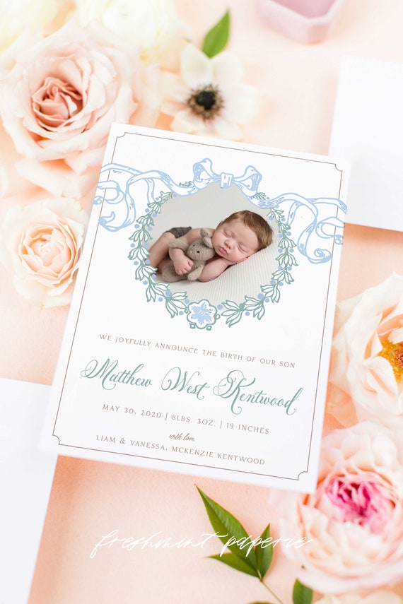 Watercolor Birth Announcement, Boy Birth Announcement, Birth Announcement, Crest Birth Announcement, Monogram Announcement, Welcome Baby