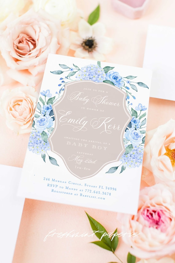 Hydrangea Baby Shower Invitation, Blue Hydrangea baby shower invitation, Baby Shower invitation, Baby shower invitation