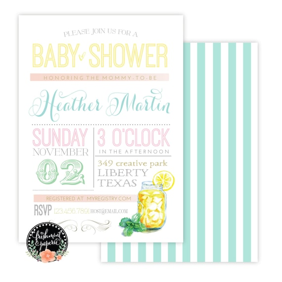 Summer bbq invitation - baby shower invitation - lemonade invitation - calligraphy - bridal invitation - freshmint paperie