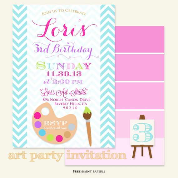 Little artist Invitation - art party invitation - painting invitation - arts & crafts party - freshmint paperie