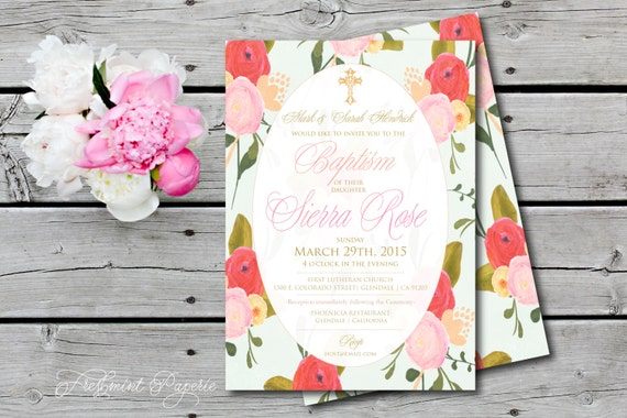 Baptism invitations - baptism invitation - christening Invitation - cross invitation - religious invitation -  floral baptism invite - 112