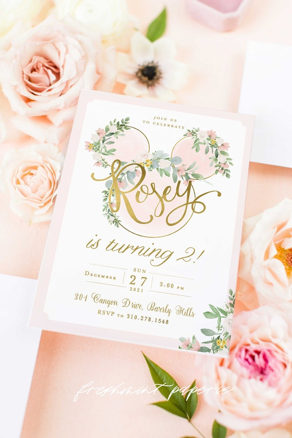 Minnie Mouse Birthday Invitation, Pink Minnie Mouse Birthday Invitation, diy, Floral Minnie Mouse Invitation, Printable