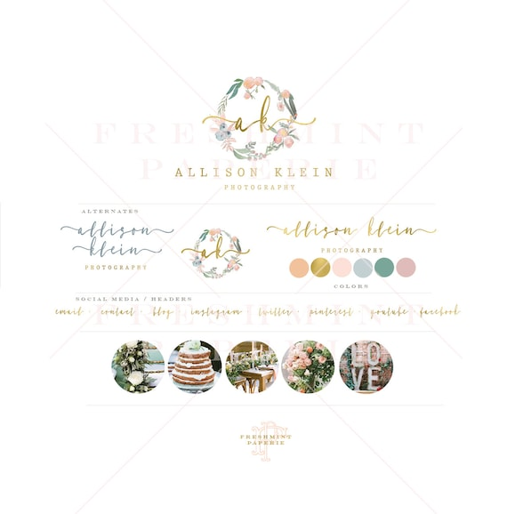 Premade logo - watercolor logo - laurel wreath logo - calligraphy logo - watercolor logo - floral logo - freshmint paperie