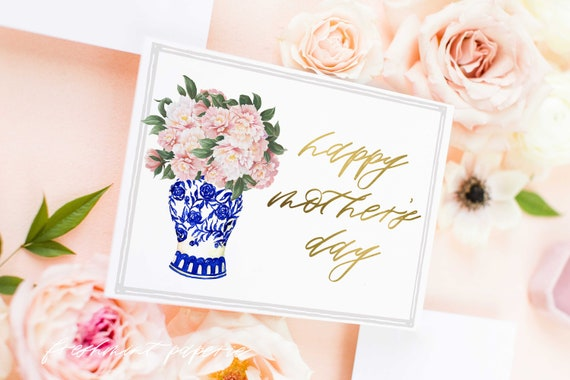 Mothers Day Card - Mothers Day Peony Ginger Jar Card - Mothers Day Stationery  - Ginger Jar Mothers Day - Mothers Day