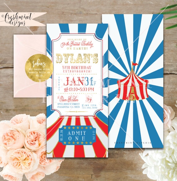 Circus invitation - carnival invitation - circus birthday invitation - kids birthday invitation - freshmint paperie
