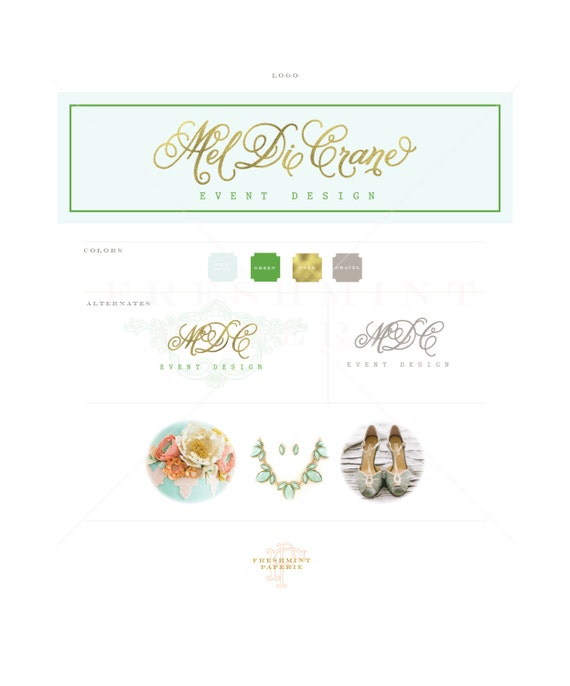 Custom logo -  gold logo  - calligraphy logo - monogram logo - business logo - business card - freshmint paperie