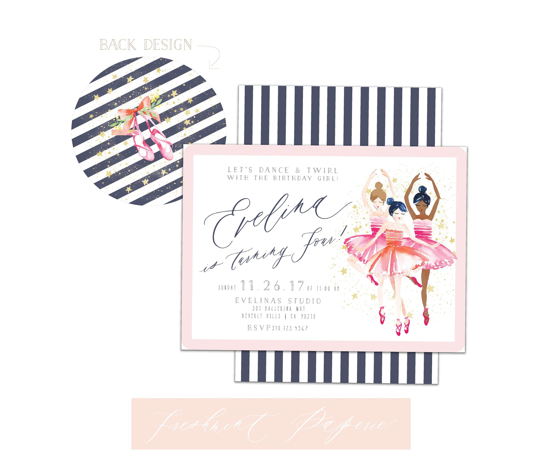 Ballerina invitation - Ballerina Birthday - Ballet invitation ...