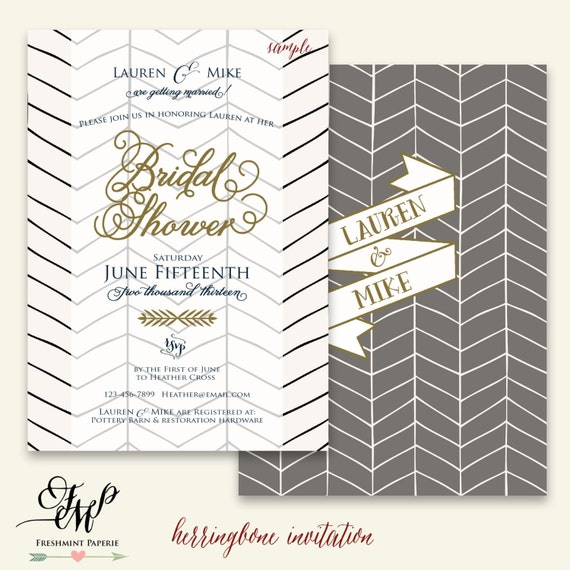 Printable invitations - herringbone invitation - bridal shower Invitation - calligraphy -  invitation - freshmint paperie