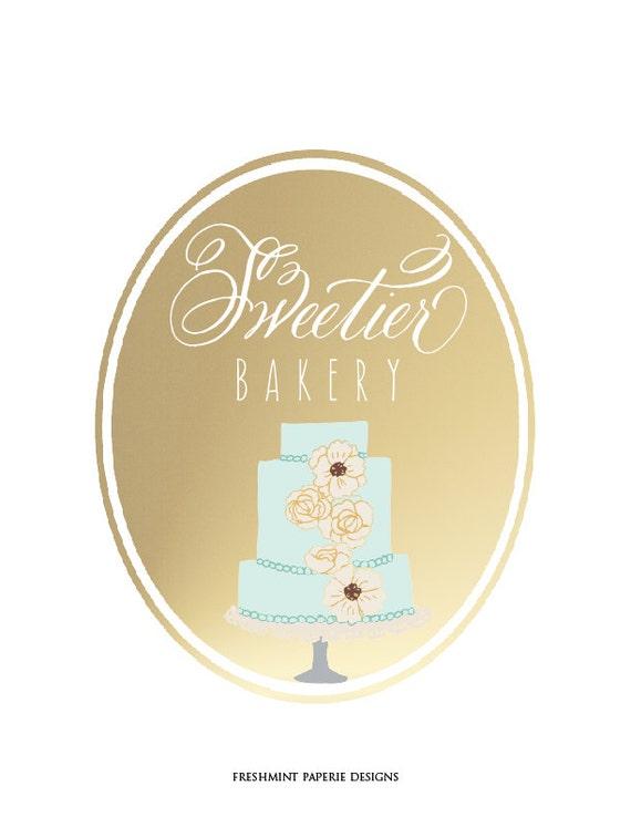 bakery logo - calligraphy logo - floral cake logo - business card - 3 tier cake logo - baker logo - freshmint paperie