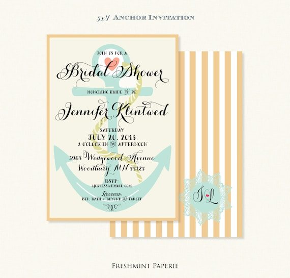 Printable invitations - bridal shower invitation - nautical invitation - calligraphy - anchor invitation - freshmint paperie