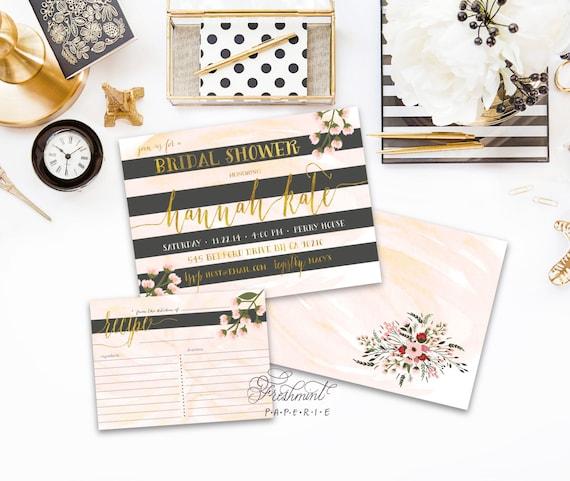 Watercolor invitations - black stripes invitation - bridal shower Invitation - calligraphy - gold invitation - freshmint paperie