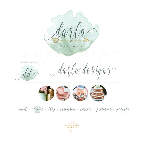 Custom pre-made logo - watercolor logo design - mint watercolor logo - calligraphy style logo - freshmint paperie