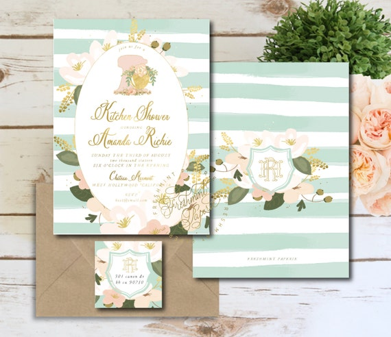 kitchen shower invitation - mixer kitchen shower invitation - kitchen shower - floral mixer invitation - freshmint paperie