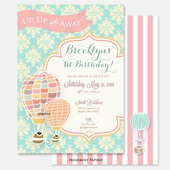 Printable invitations - hot air balloon invitation - birthday Invitation - calligraphy - balloon invitation - freshmint paperie