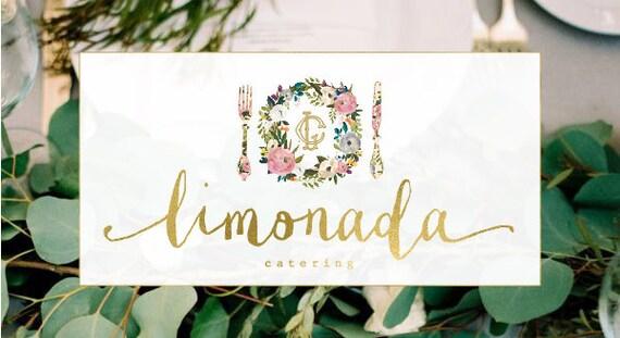 Premade logo - watercolor logo - catering logo - calligraphy logo - watercolor logo - floral logo - freshmint paperie