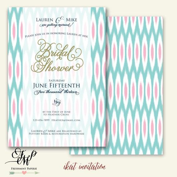 Printable invitations - ikat invitation - bridal shower Invitation - calligraphy -  invitation - freshmint paperie