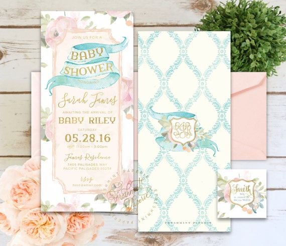 style 252 | baby shower floral invitation | vintage baby shower invitation | shabby chic baby shower invitation | shabby chic invitation