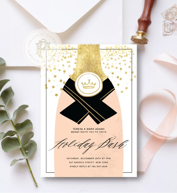 Holiday Bash invitation | Holiday Party invitation | Champagne invitation | New Years invitation | Holiday invitation