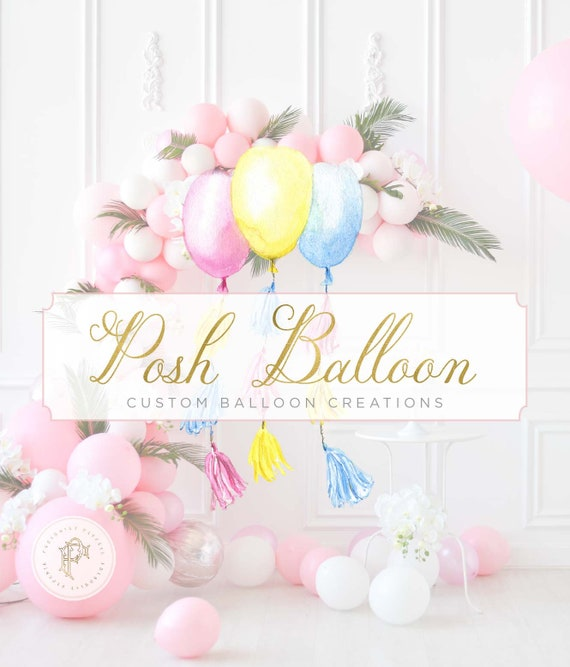 Balloon Logo - Balloon tassel Logo design - Watercolor balloon tassel logo - Branding - Children's Boutique Logo - Balloons Logo