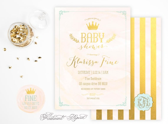 Printable invitations - baby shower crown invitation - watercolor and gold invitation - calligraphy - crown invitation - prince theme