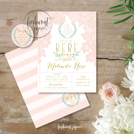 Printable invitations - lace invitation - bebe shower invitation - vintage lace invitation - baby shower - freshmint paperie