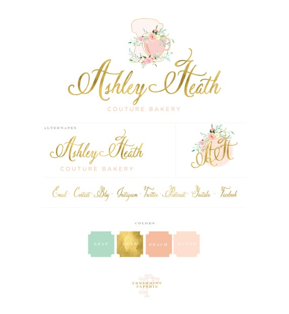Bakery logo - watercolor logo - baking logo - calligraphy logo - watercolor logo - floral mixer logo - freshmint paperie