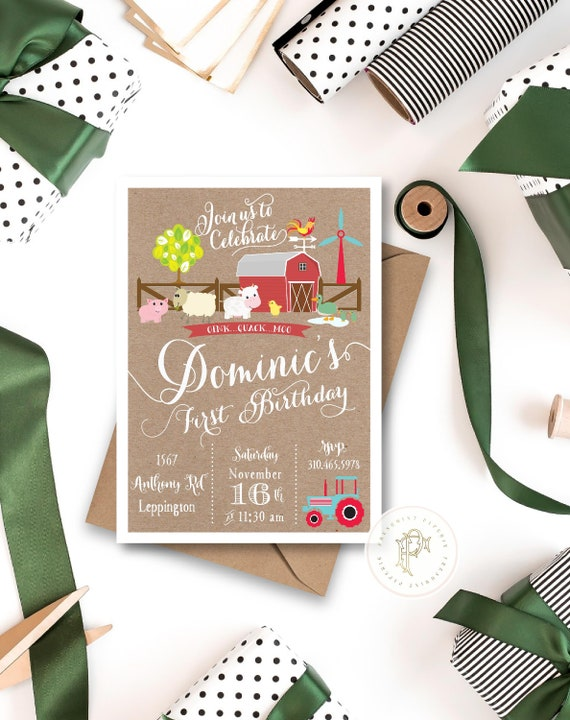 Barnyard farm invitation, kids birthday Farm invitation, Petting zoo invitation, Petting zoo farm Birthday Party invitation for Kids