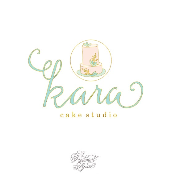 customized logo - cursive logo -  logo design  - calligraphy logo - bakery logo - cake logo - watercolor - freshmint paperie